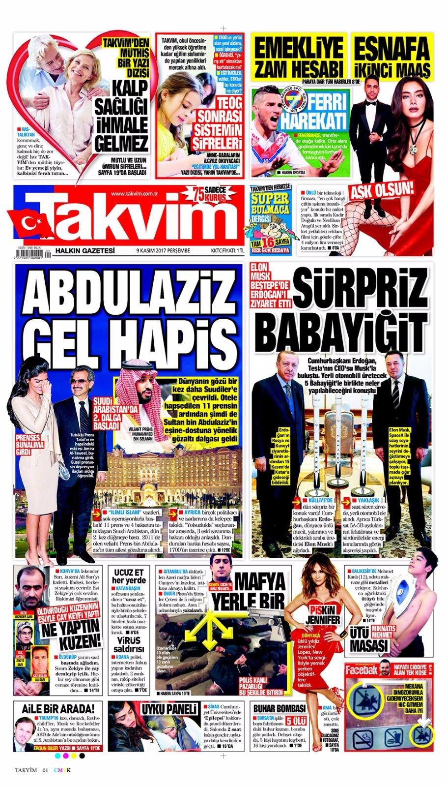 Basında bugün kim ne manşet attı? 9 kasım günün gazete manşetleri 12