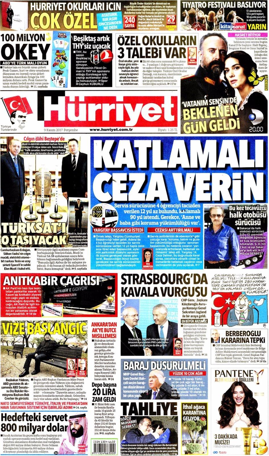 Basında bugün kim ne manşet attı? 9 kasım günün gazete manşetleri 17