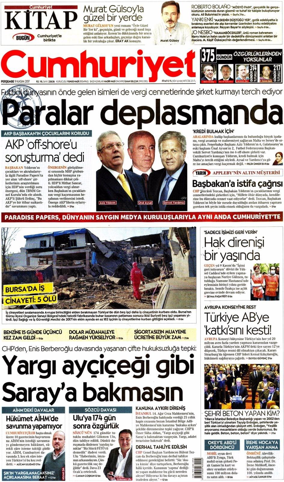 Basında bugün kim ne manşet attı? 9 kasım günün gazete manşetleri 5