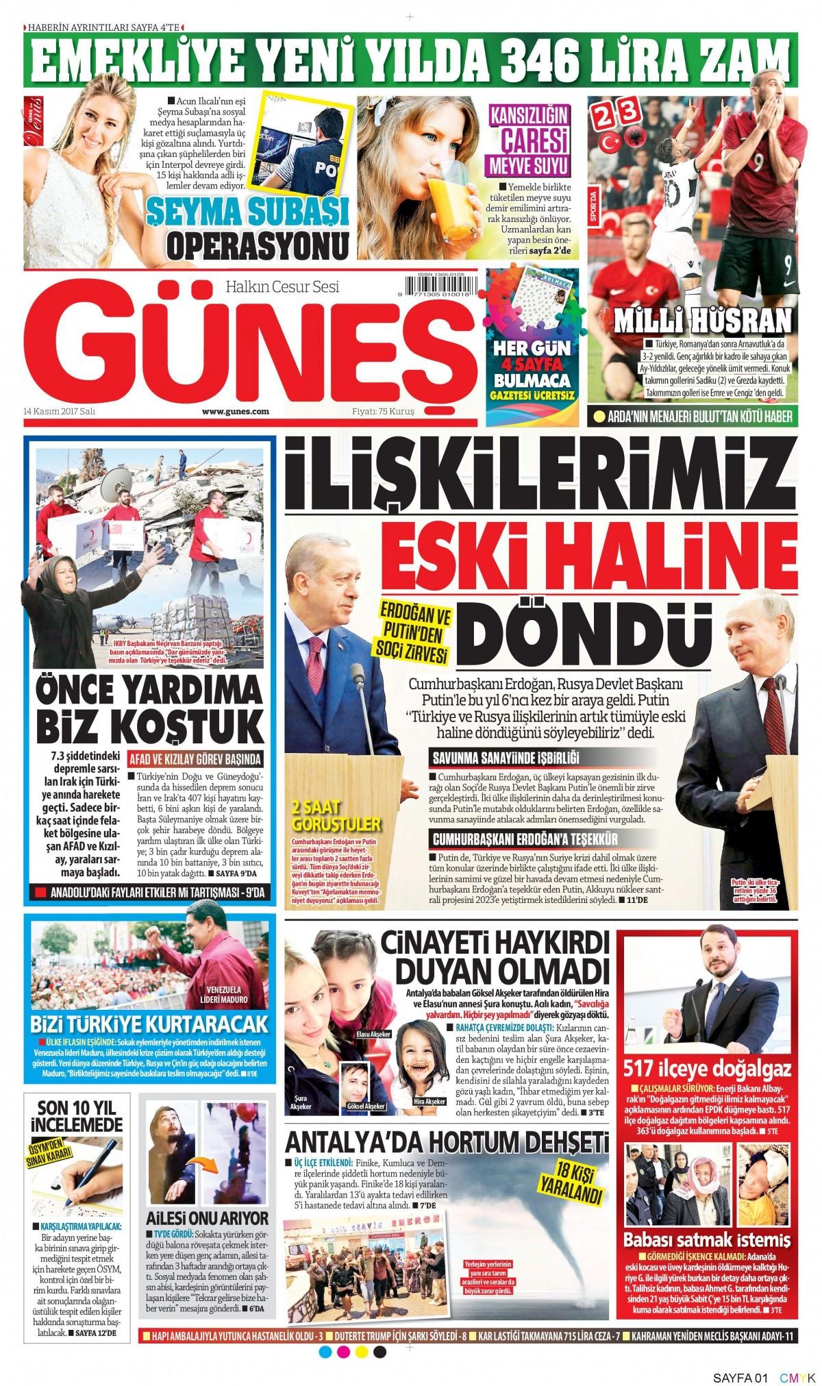 Günün gazete manşetleri! (3 Kasım 2017) 13