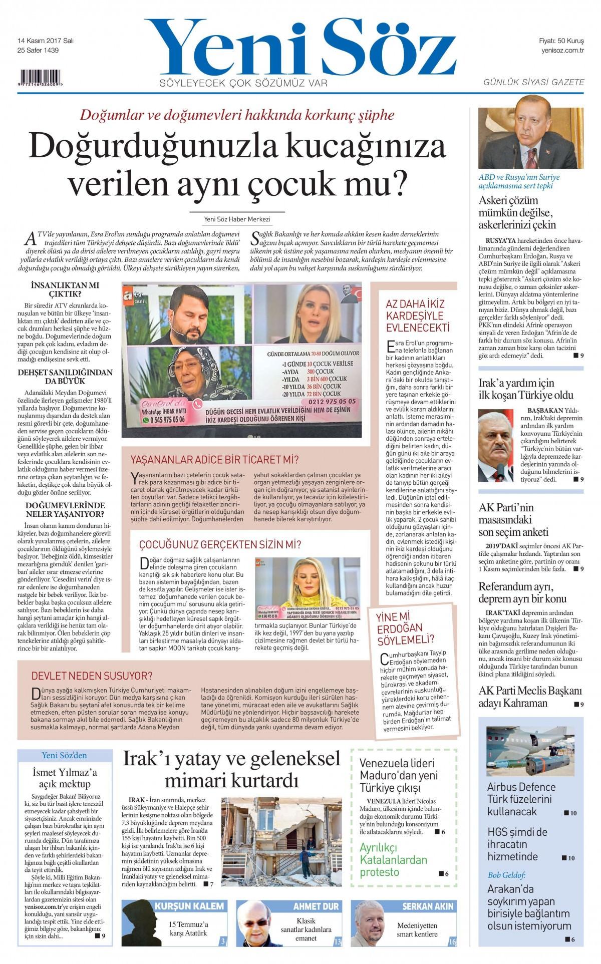 Günün gazete manşetleri! (3 Kasım 2017) 16