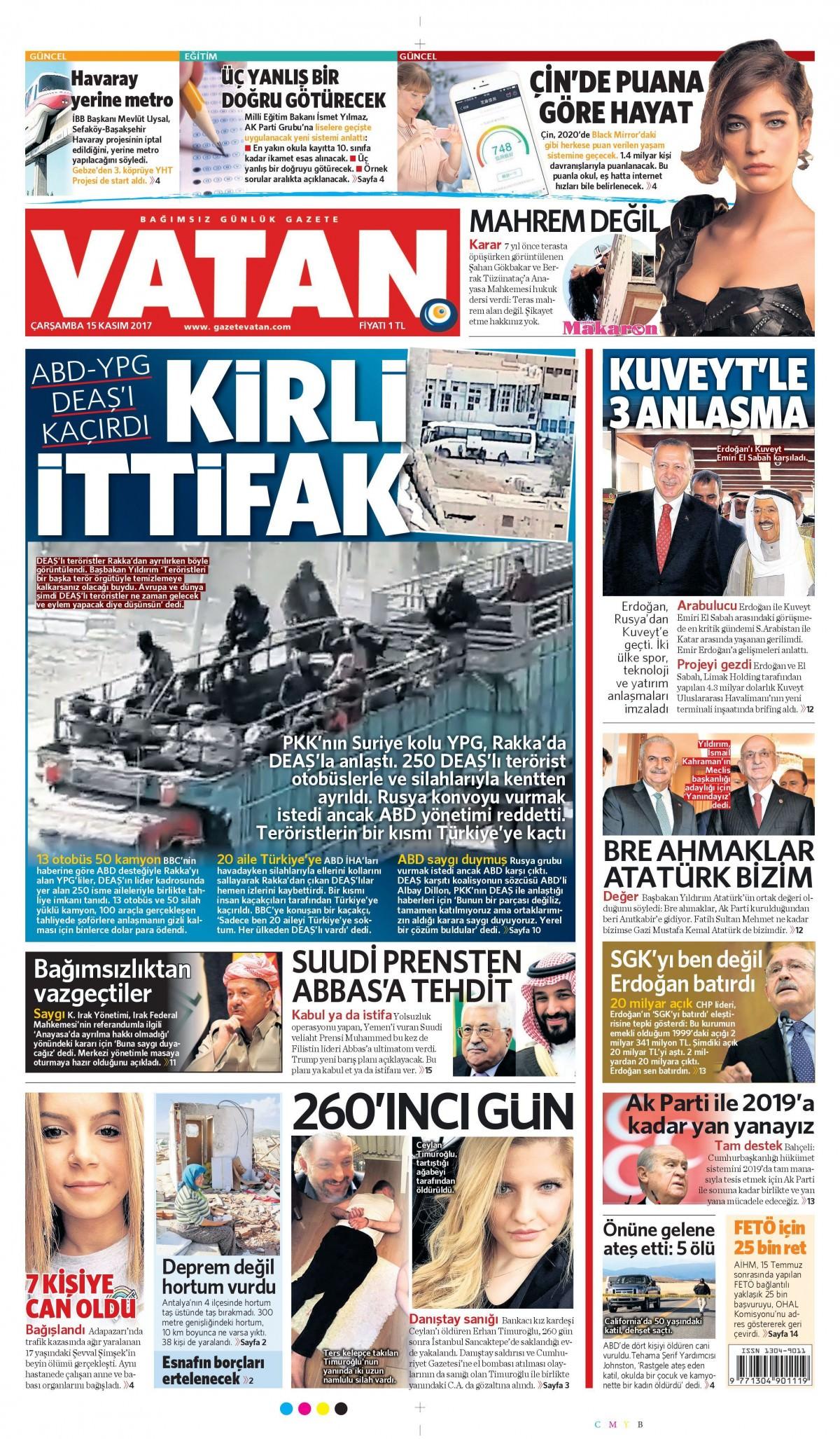 Günün gazete manşetleri (15 Kasım 2017) 12