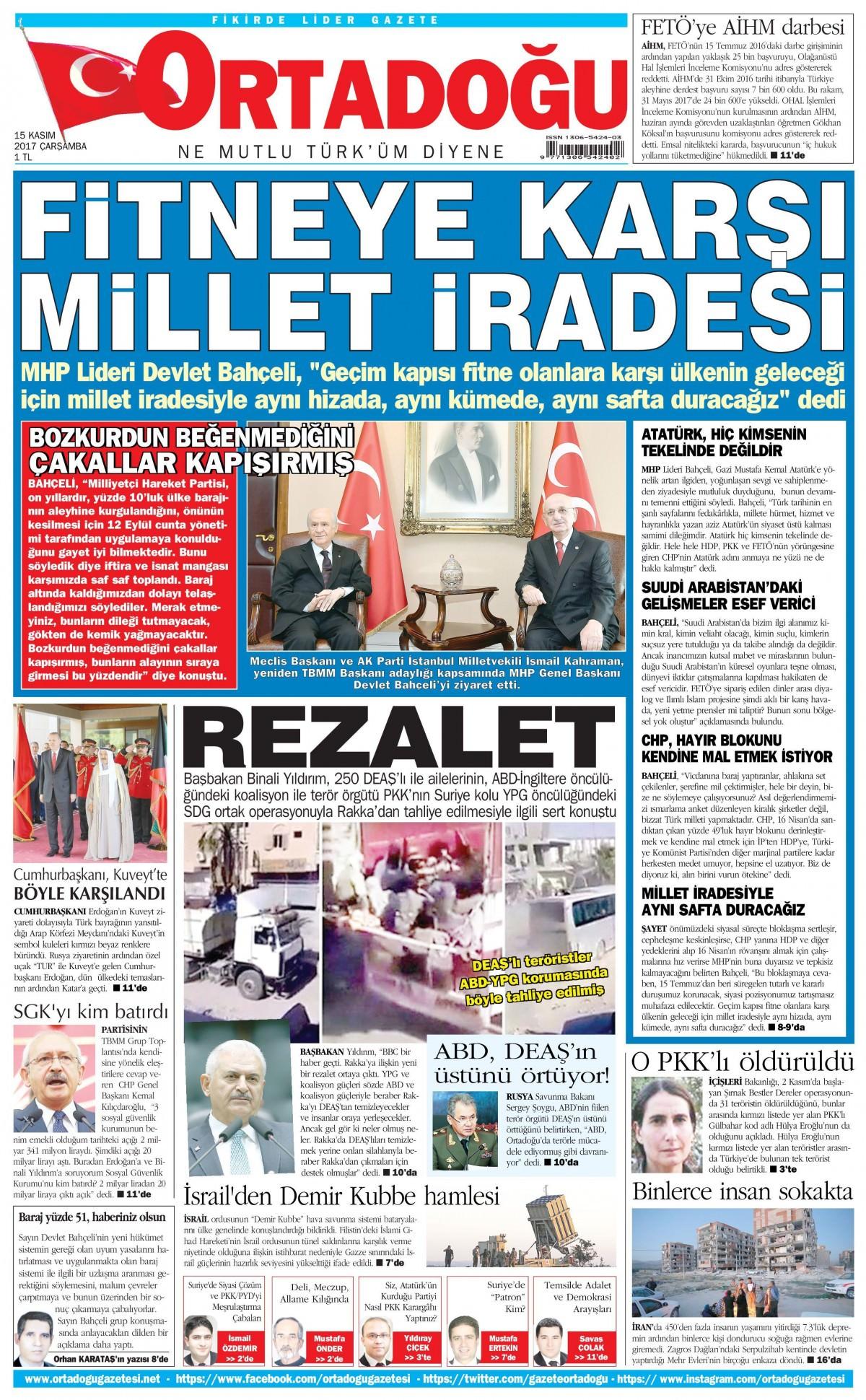 Günün gazete manşetleri (15 Kasım 2017) 15