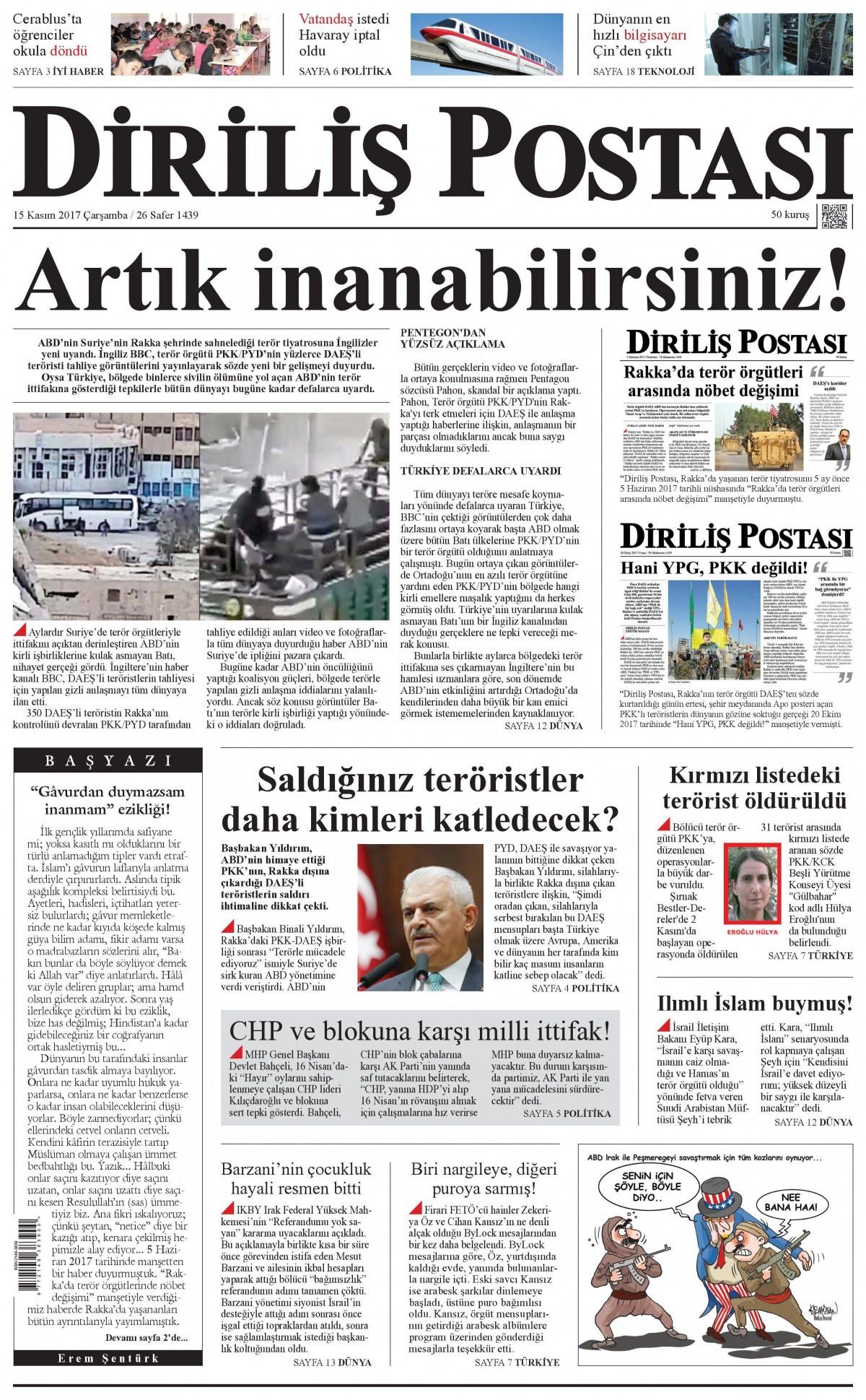 Günün gazete manşetleri (15 Kasım 2017) 19