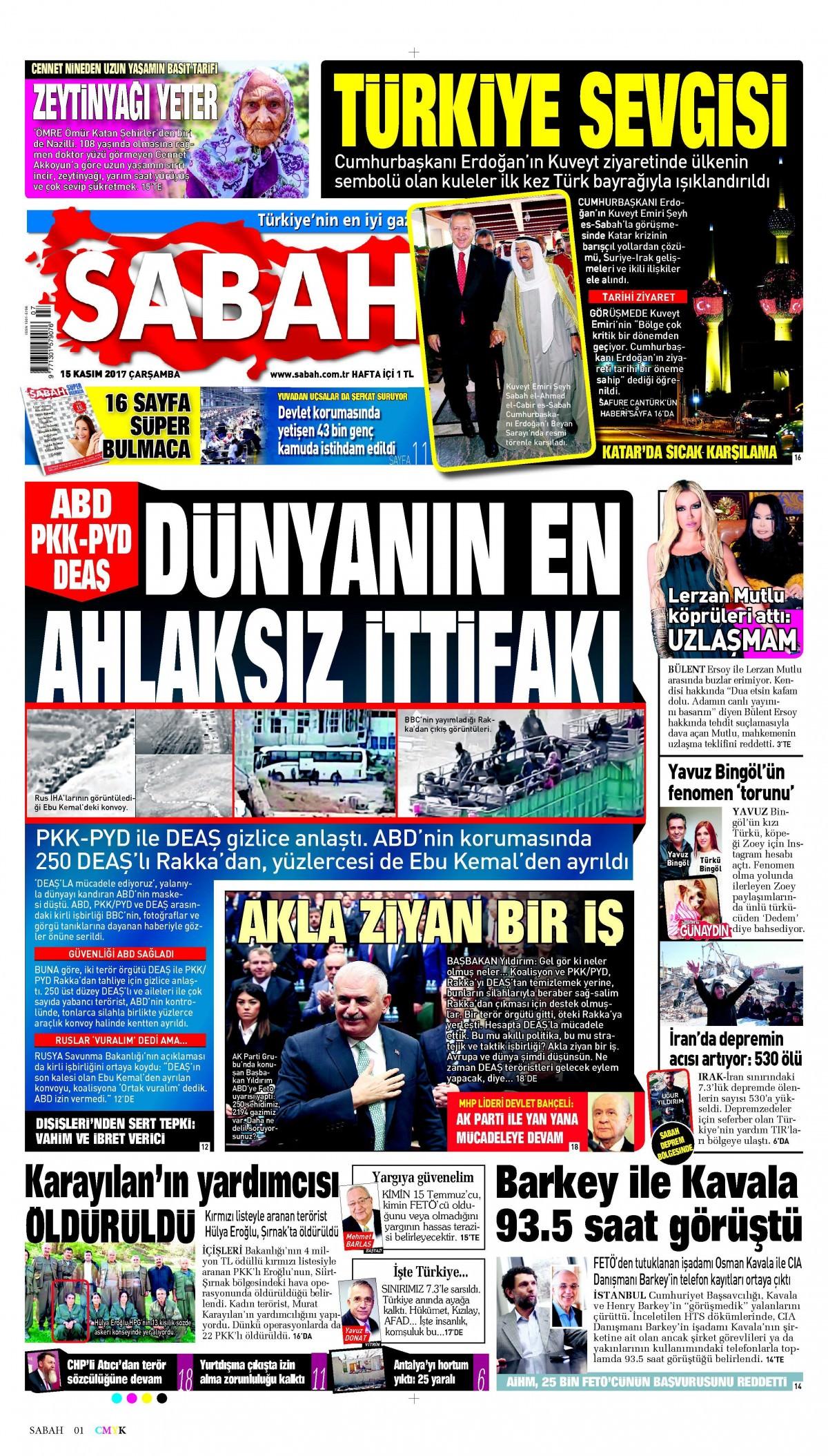 Günün gazete manşetleri (15 Kasım 2017) 2