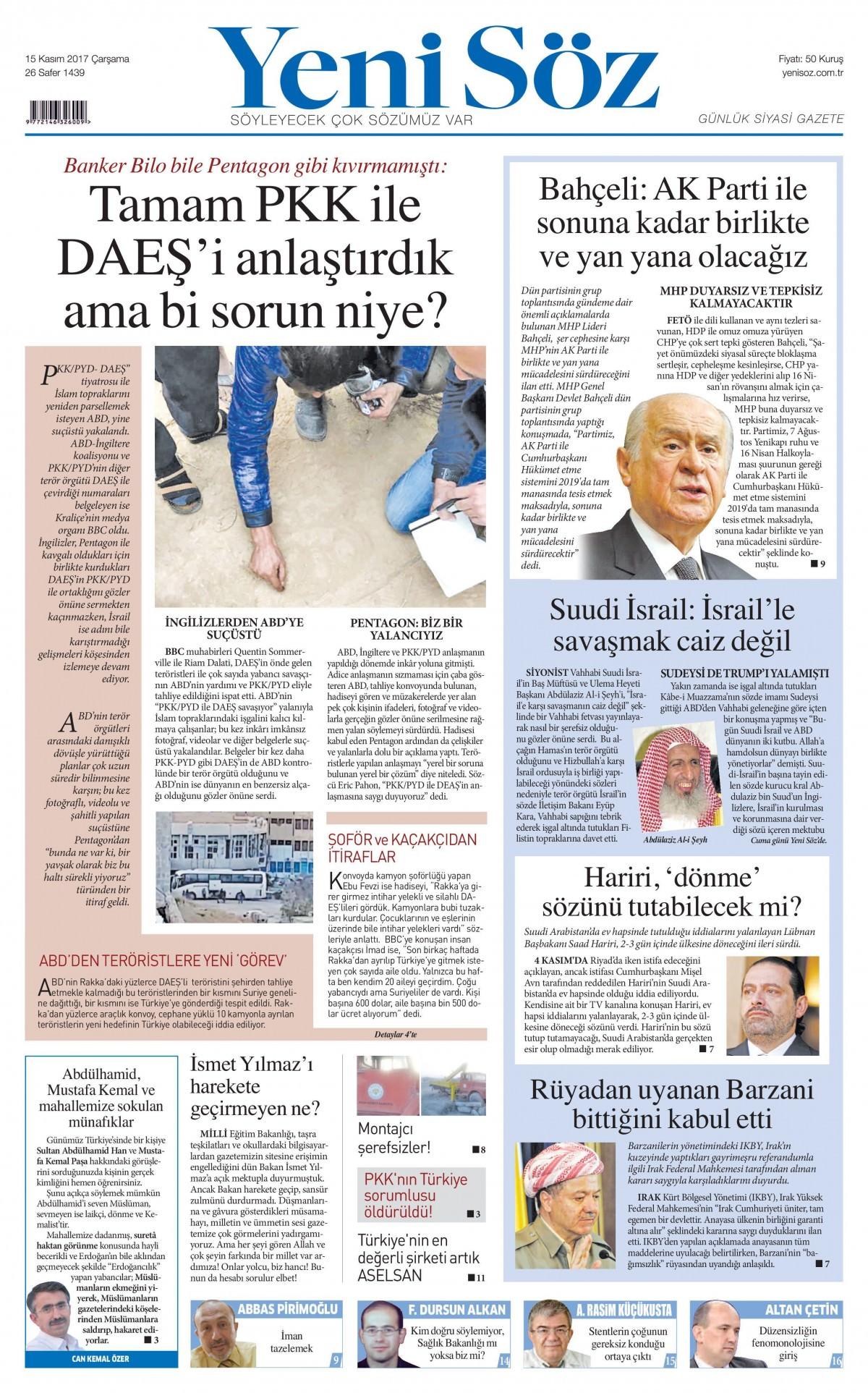 Günün gazete manşetleri (15 Kasım 2017) 20