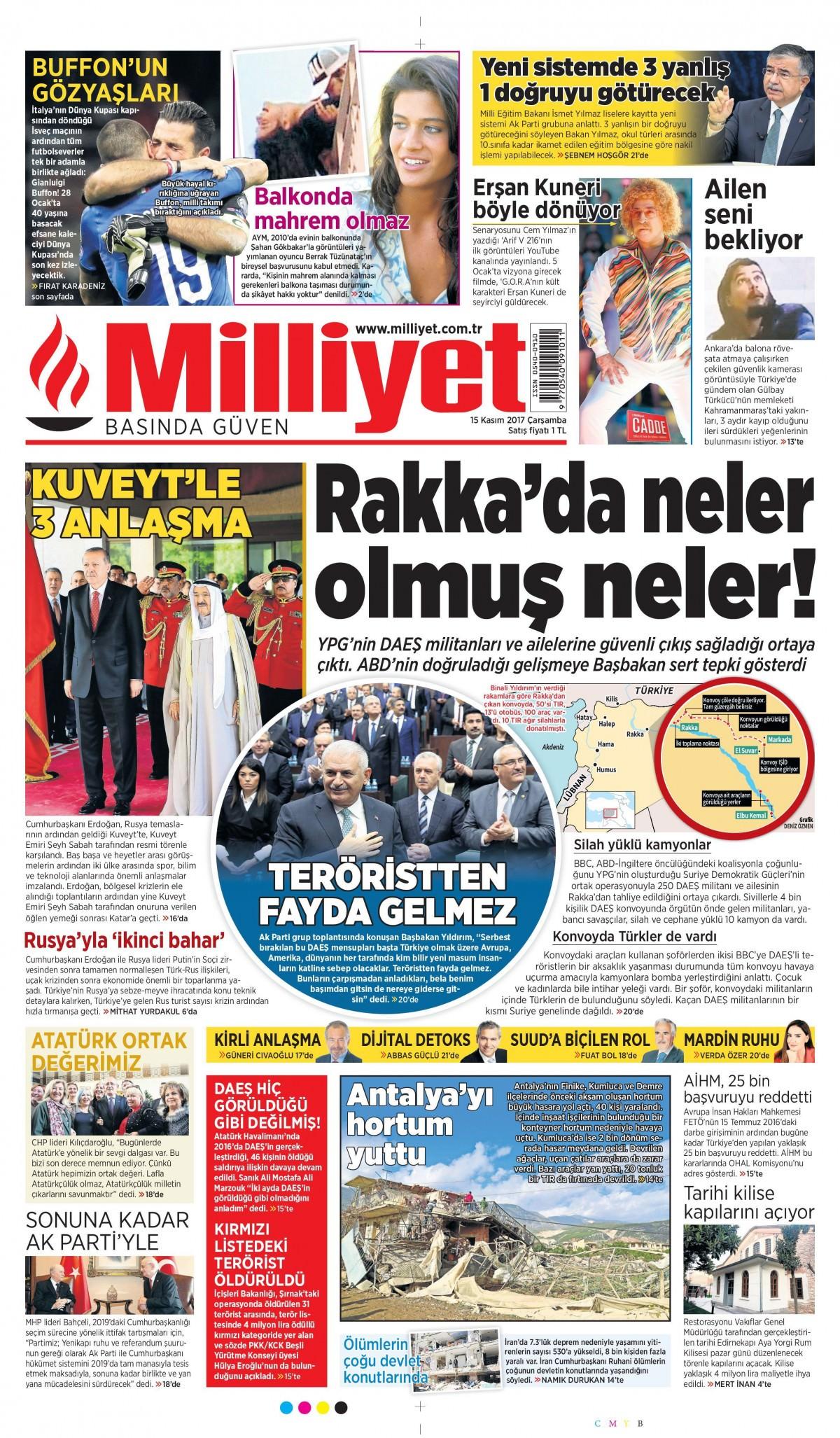 Günün gazete manşetleri (15 Kasım 2017) 3