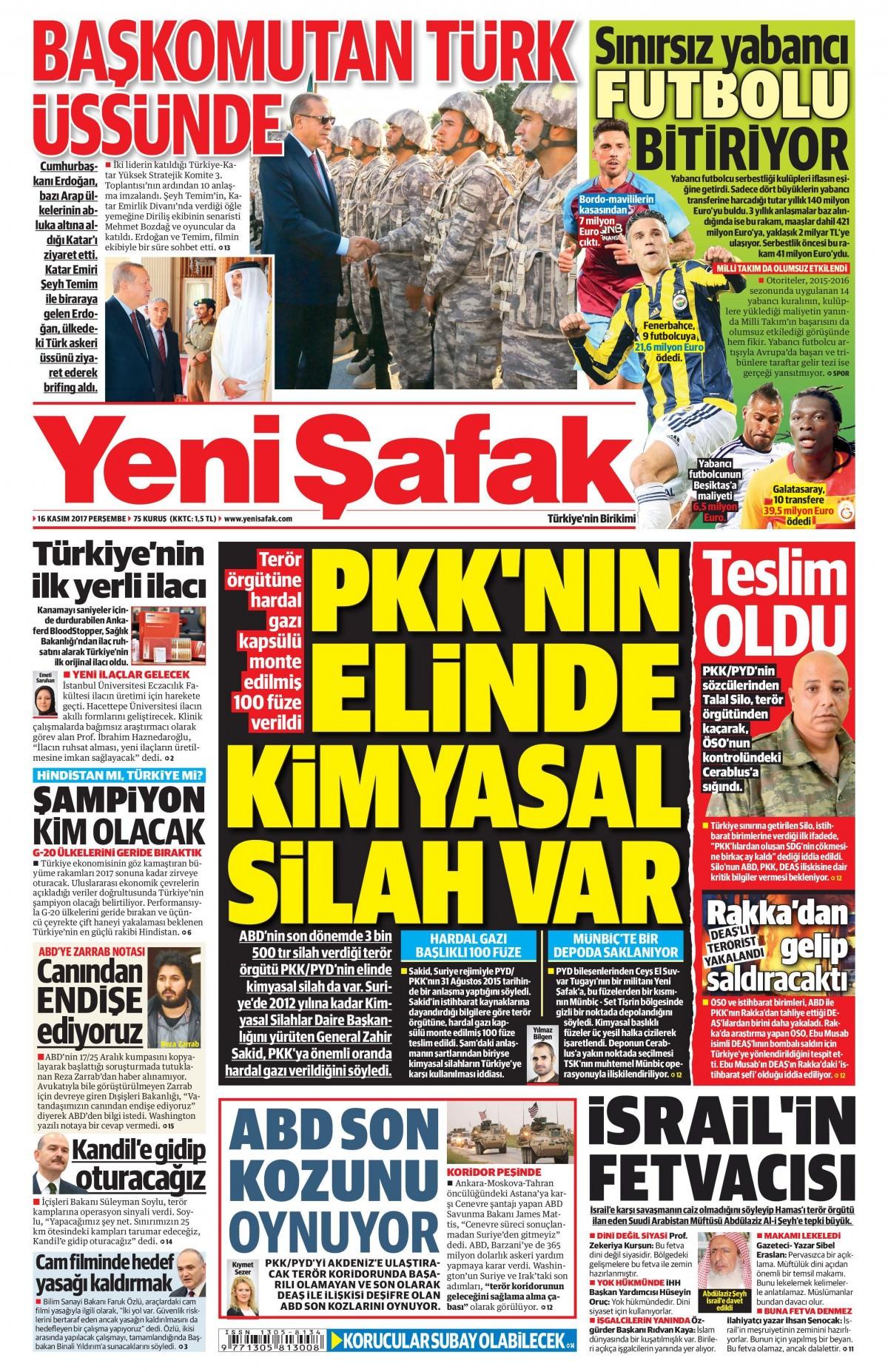 Günün gazete manşetleri (16 Kasım 2017) 1