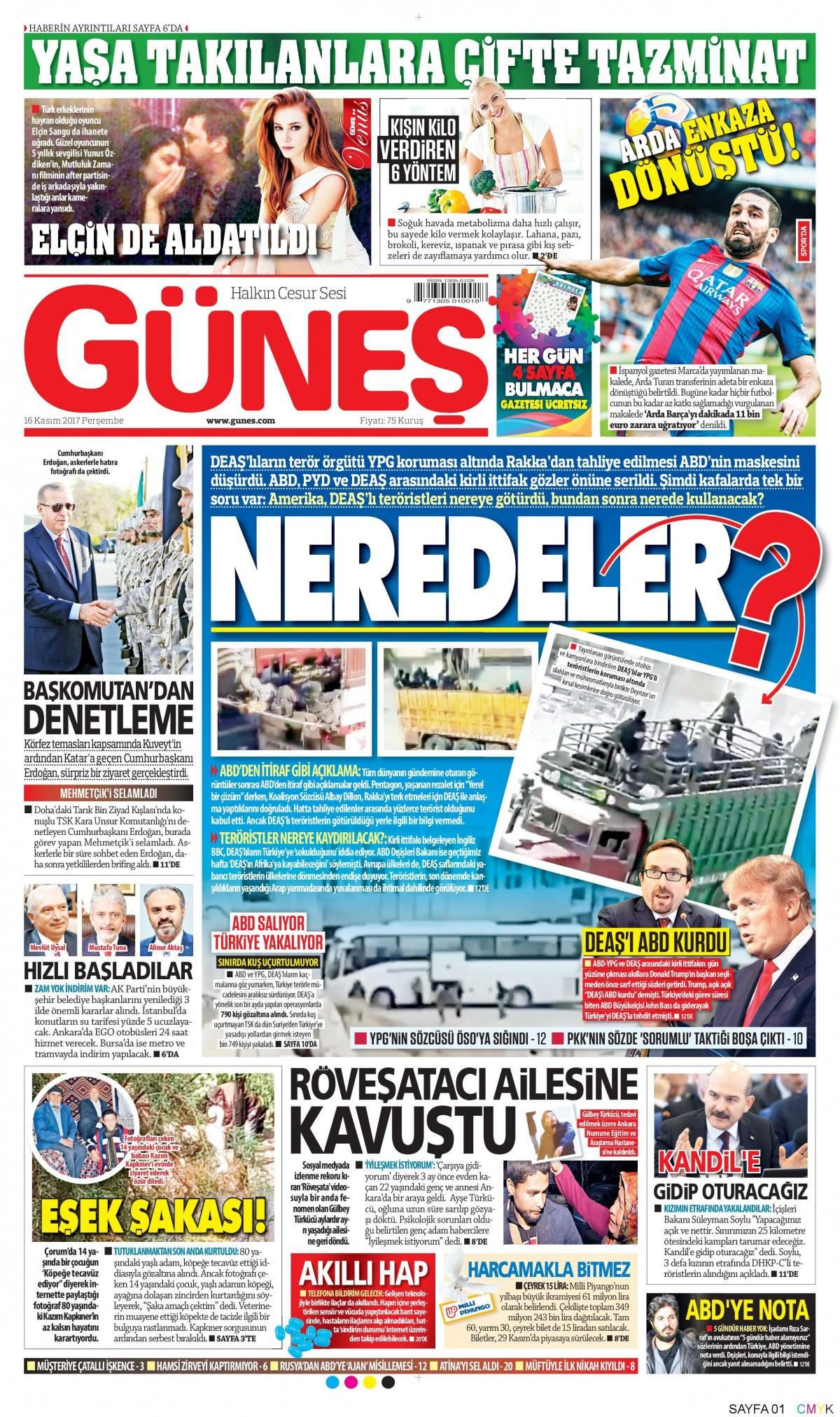 Günün gazete manşetleri (16 Kasım 2017) 14