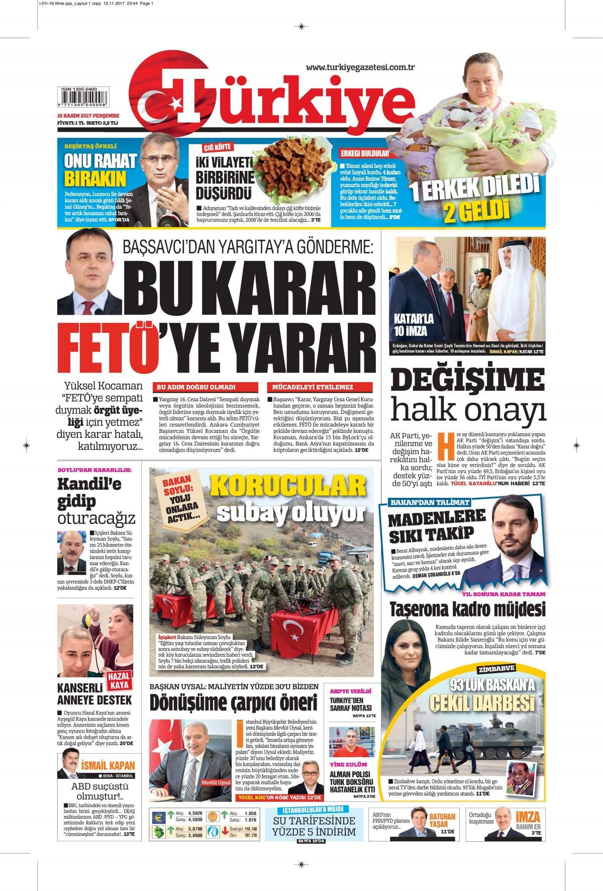 Günün gazete manşetleri (16 Kasım 2017) 2
