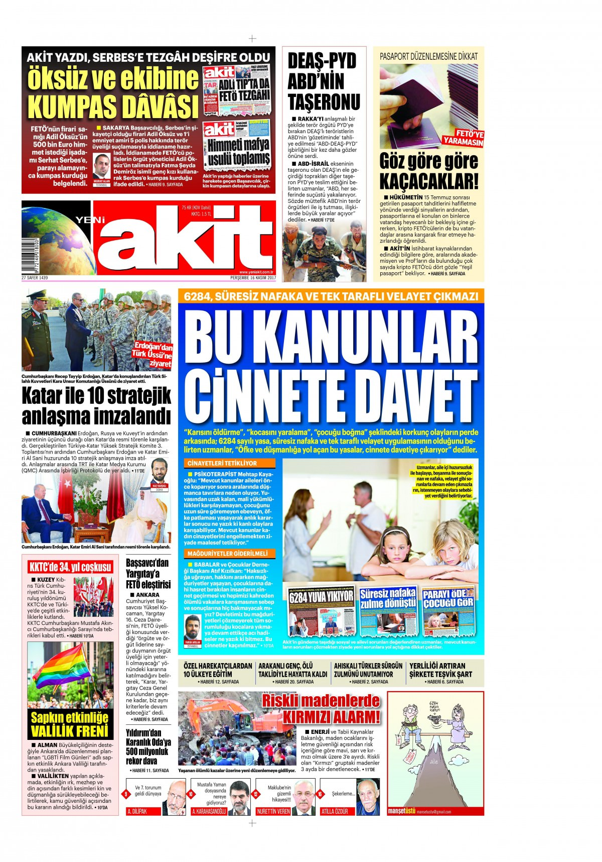 Günün gazete manşetleri (16 Kasım 2017) 3
