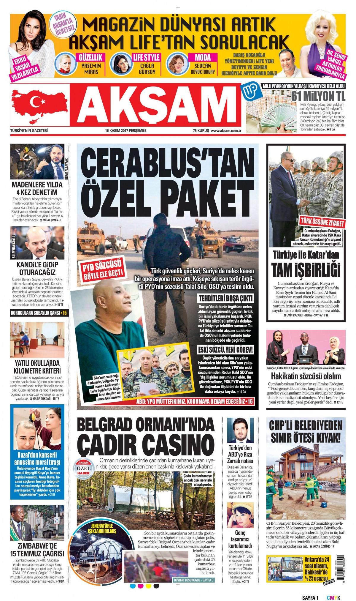 Günün gazete manşetleri (16 Kasım 2017) 7