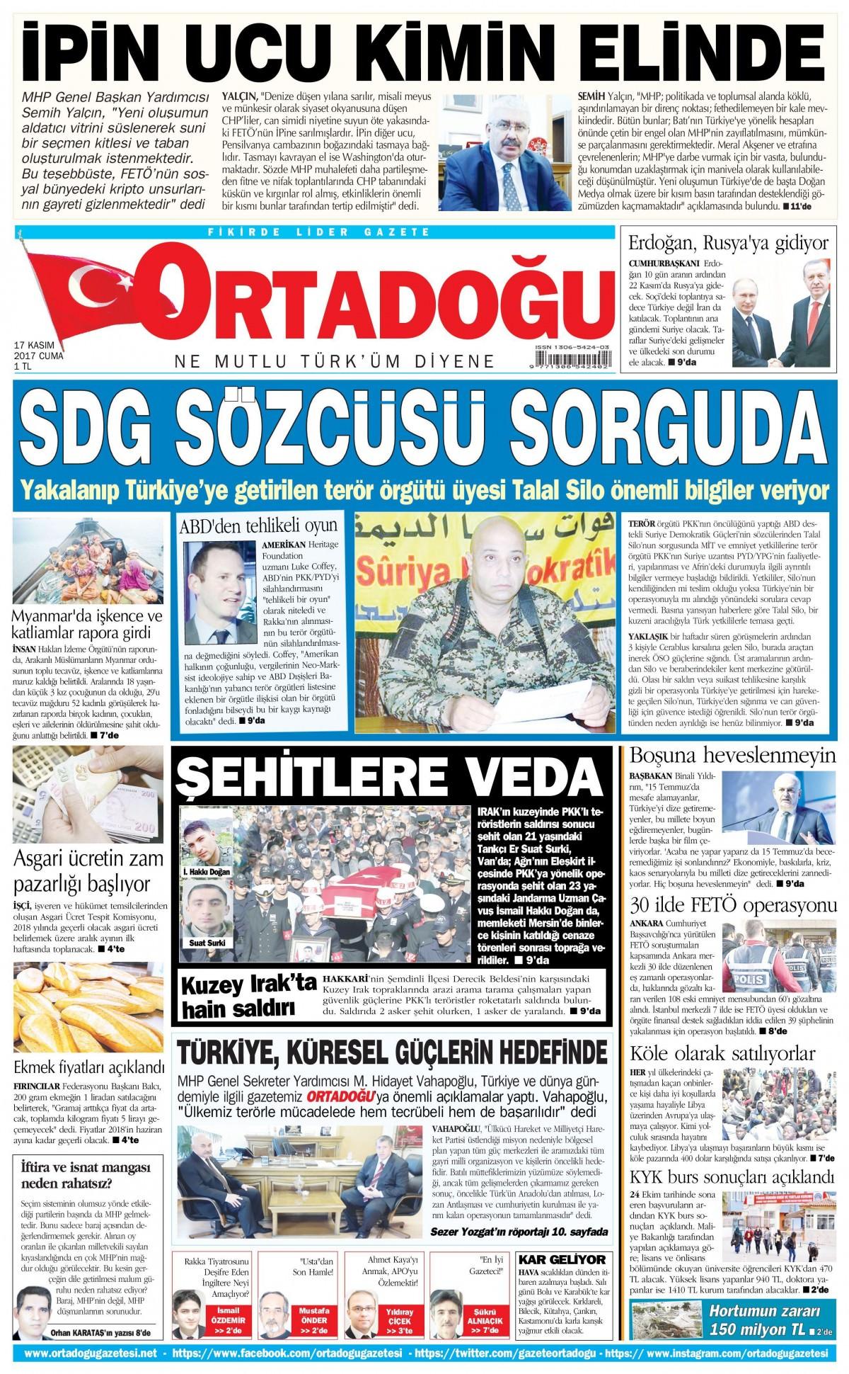 Gazeteler hangi manşetleri attı! (17 Kasım 2017) 13