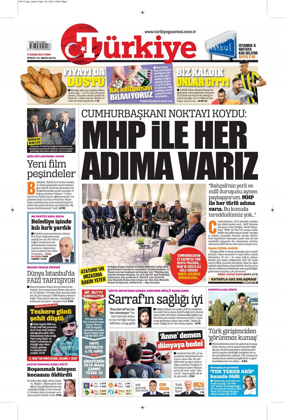 Gazeteler hangi manşetleri attı! (17 Kasım 2017) 2
