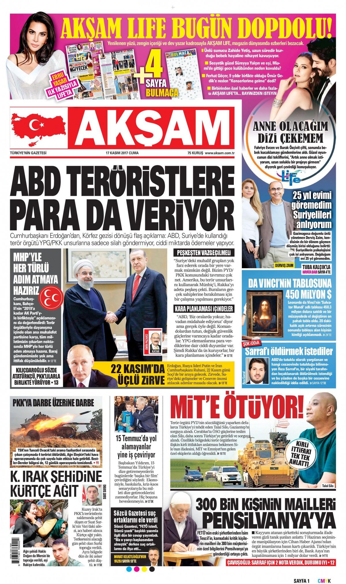Gazeteler hangi manşetleri attı! (17 Kasım 2017) 7