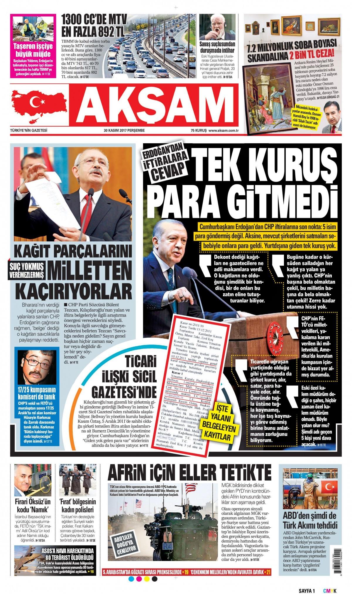 Gazeteler bugün hangi manşeti attı 11