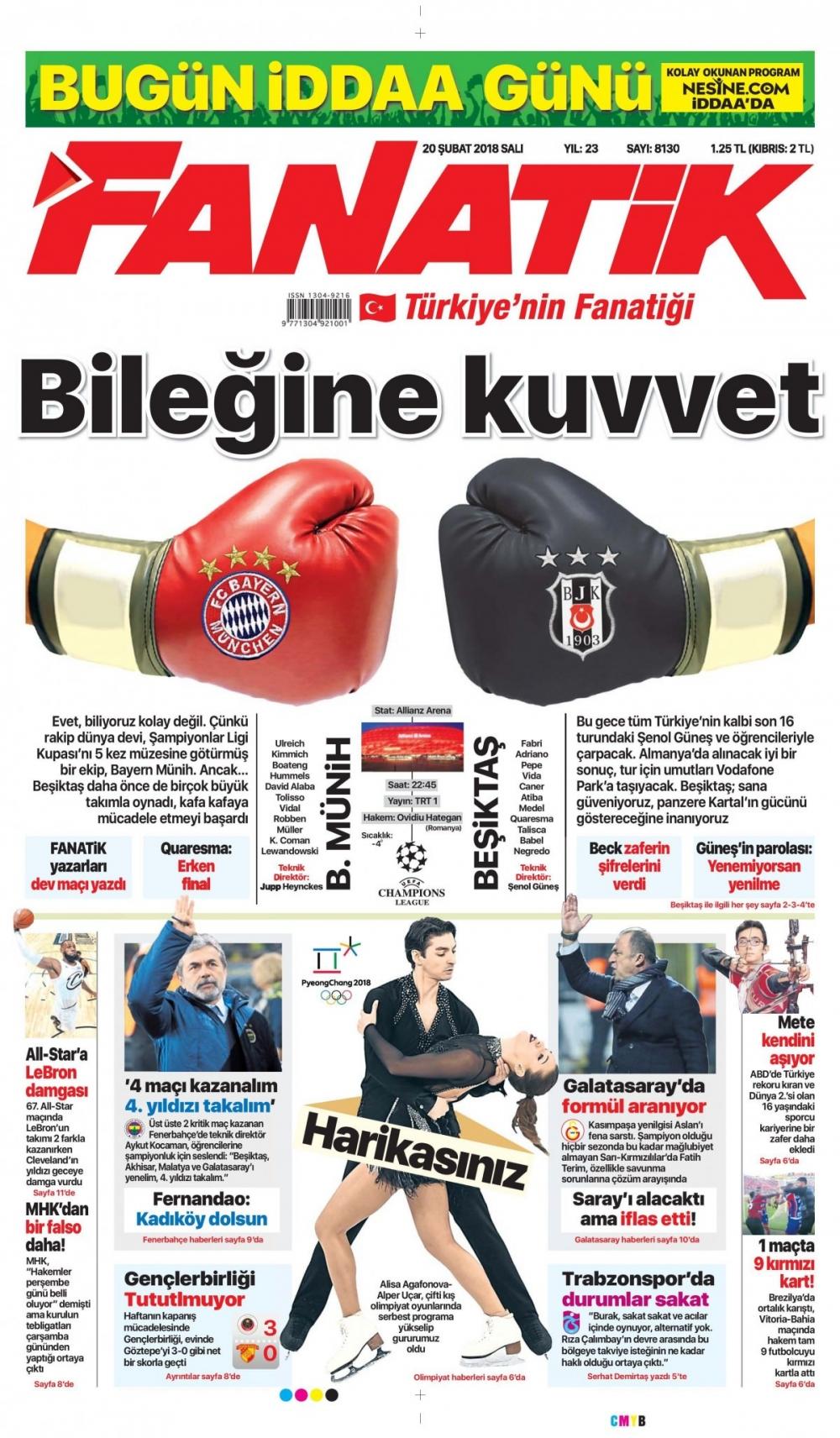 Günün gazete manşetleri (20 Şubat 2018) 1