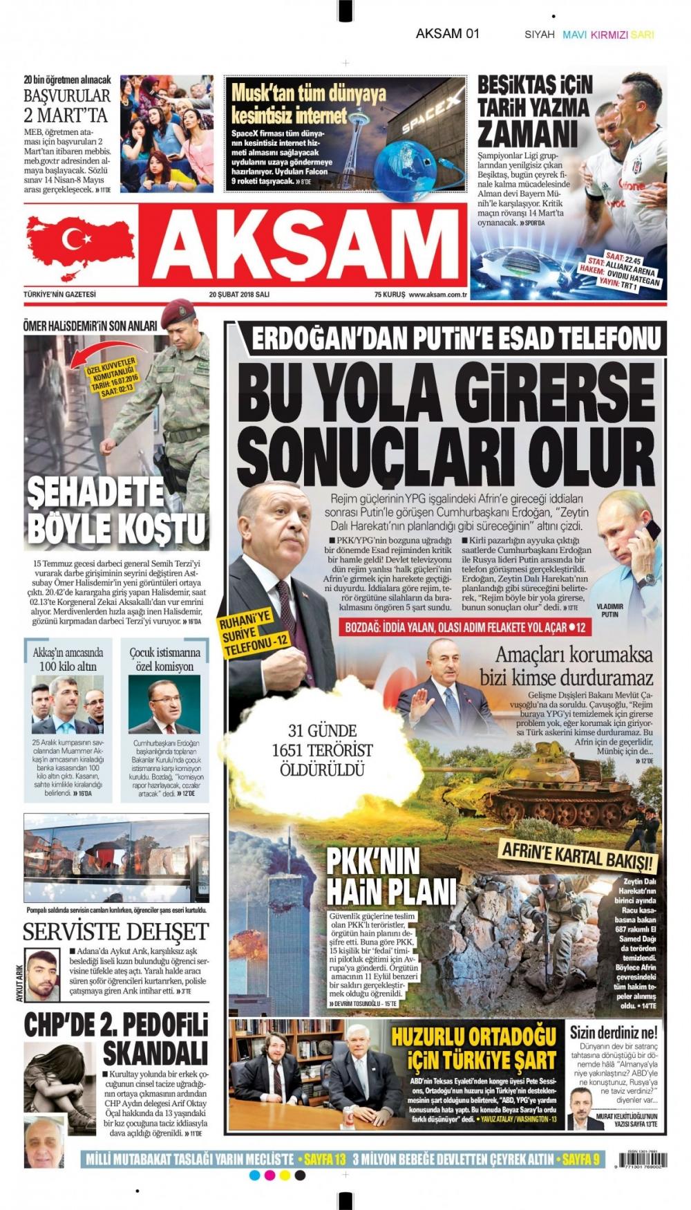 Günün gazete manşetleri (20 Şubat 2018) 6