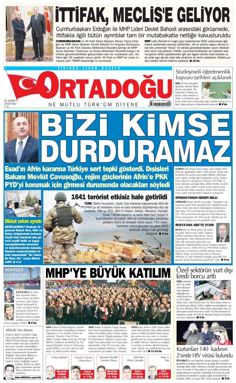 Günün gazete manşetleri (20 Şubat 2018) 9