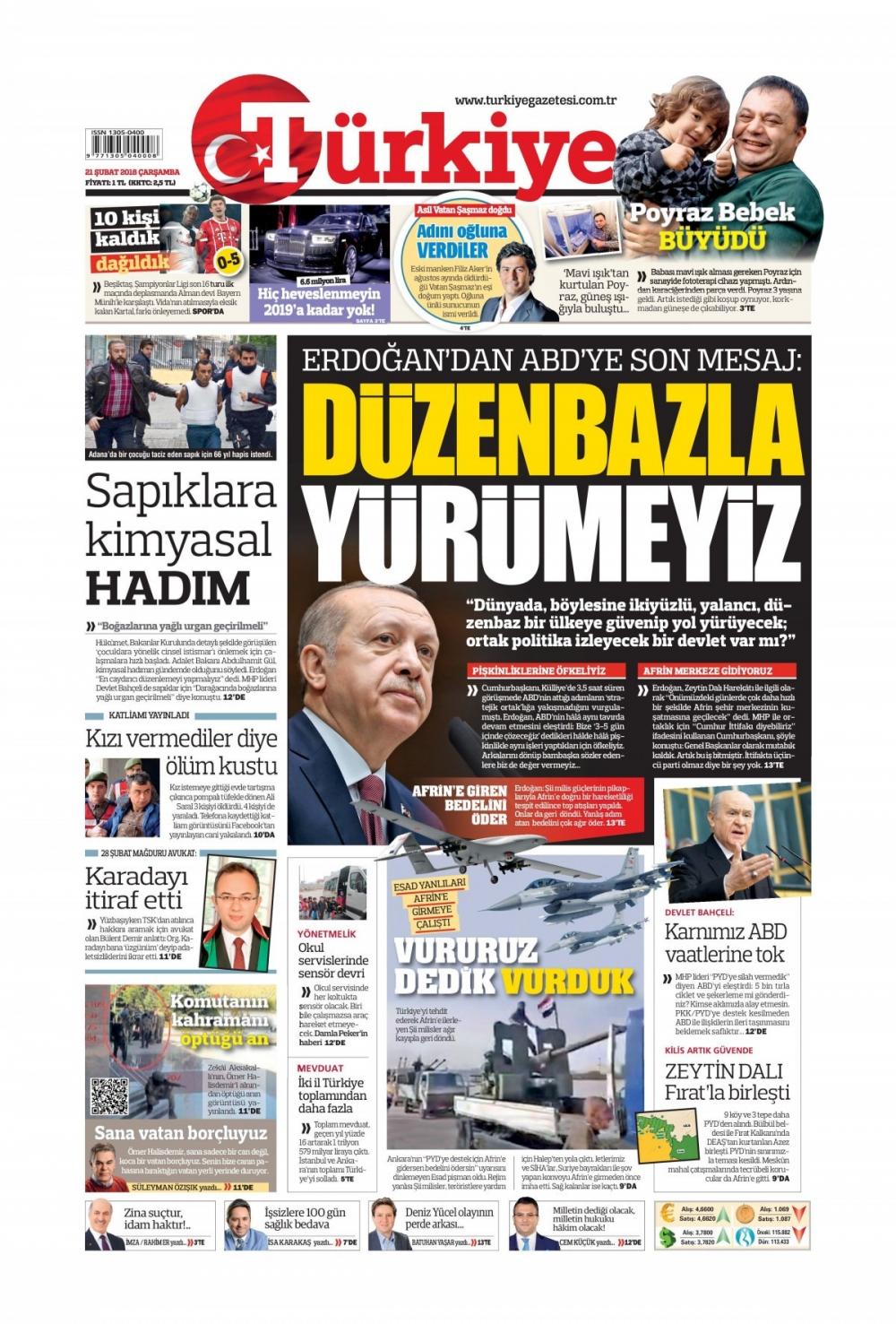 Günün gazete manşetleri (21 Şubat 2018) 1