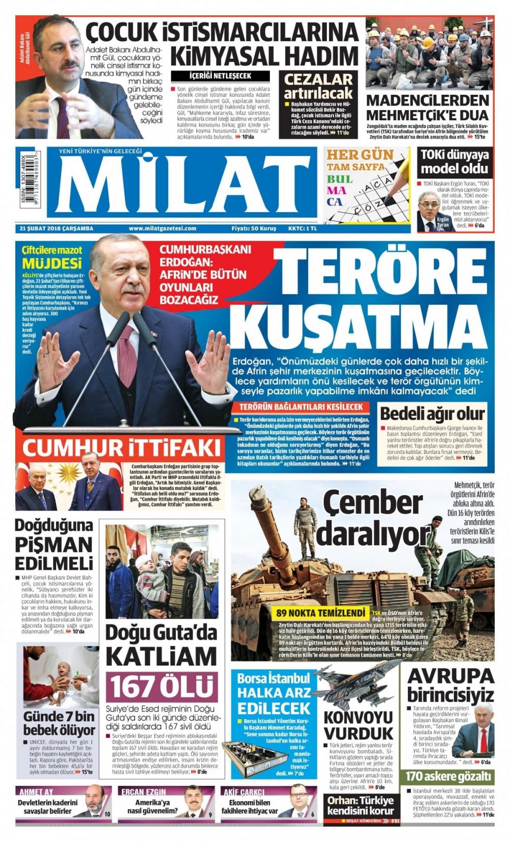 Günün gazete manşetleri (21 Şubat 2018) 12