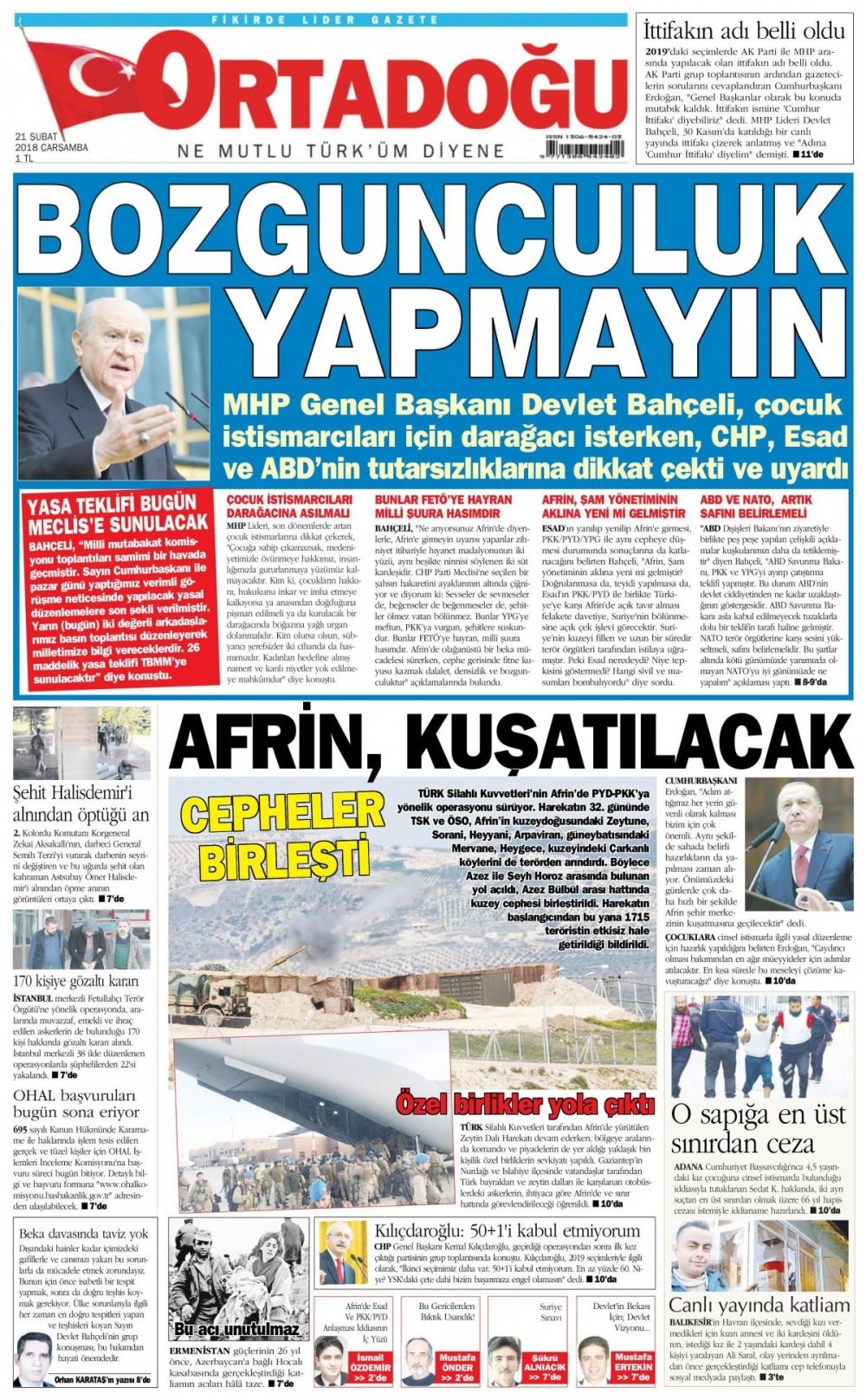 Günün gazete manşetleri (21 Şubat 2018) 14