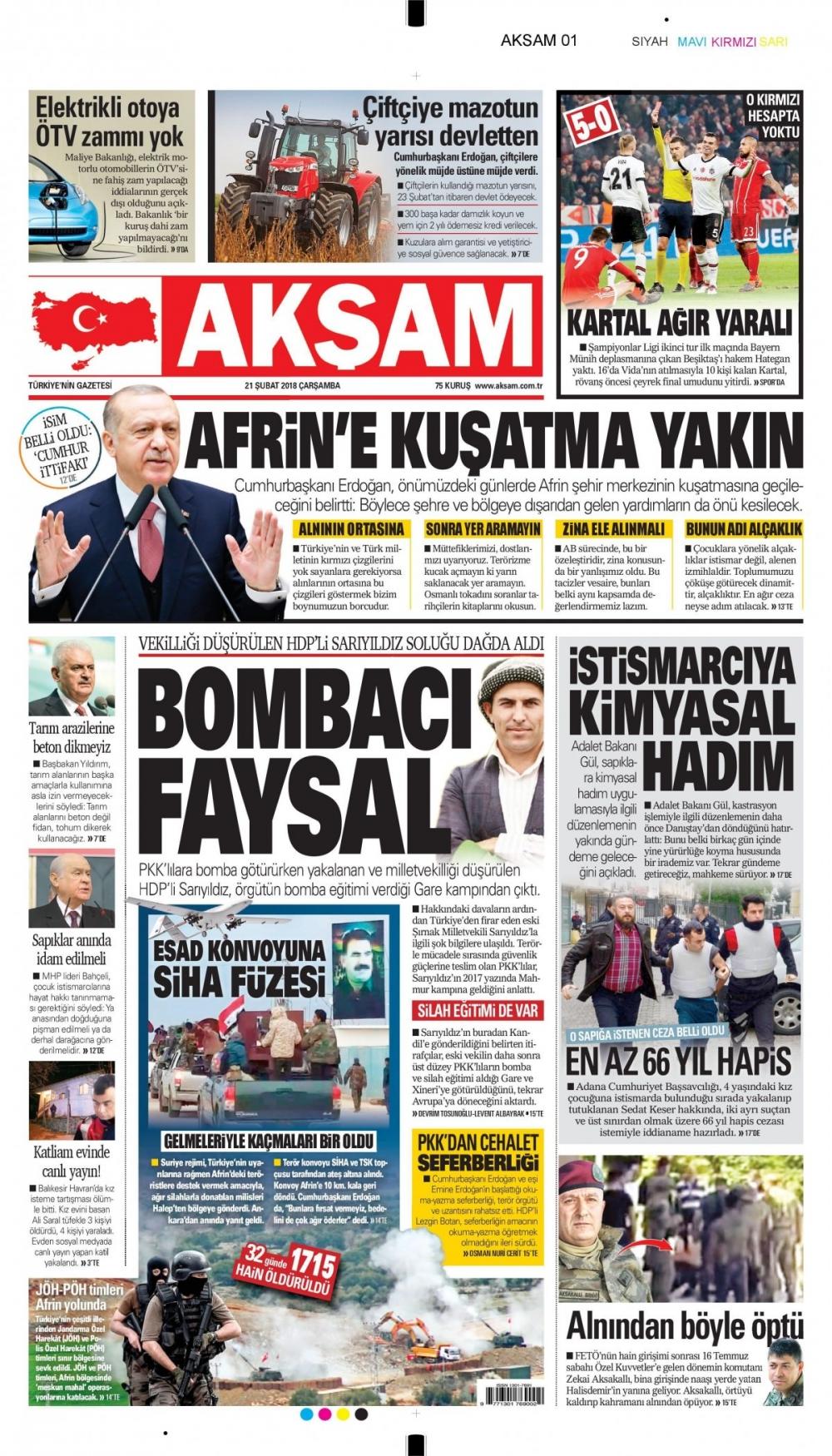 Günün gazete manşetleri (21 Şubat 2018) 6