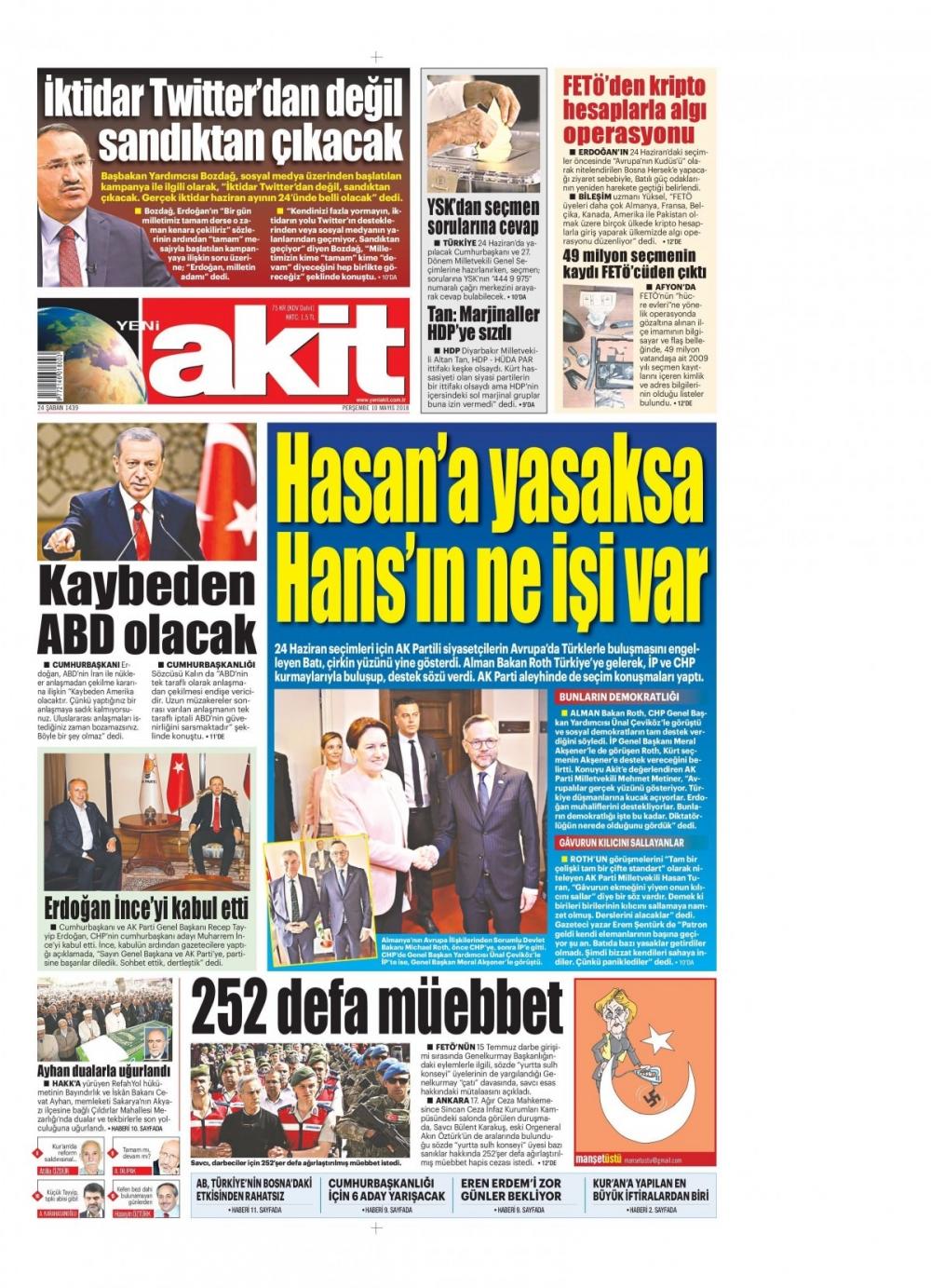 Günün gazete manşetleri (10 Mayıs 2018) 1