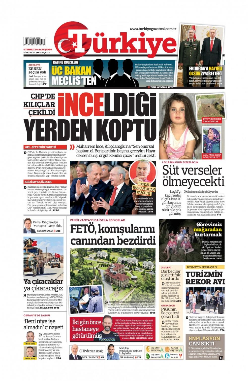 Günün gazete manşetleri ( 04 Temmuz 2018) 1