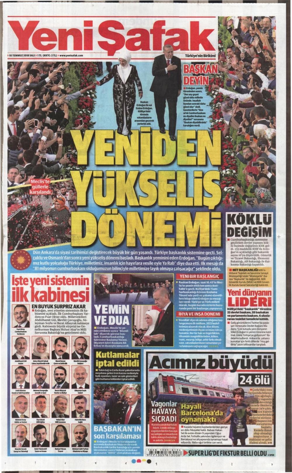 Günün gazete manşetleri ( 10 Temmuz 2018) 1