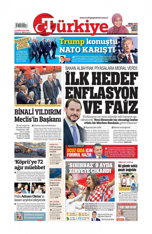 Günün gazete manşetleri ( 13 Temmuz 2018) 1