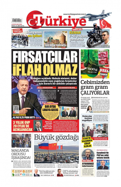 Günün gazete manşetleri ( 14 Eylül 2018) 1