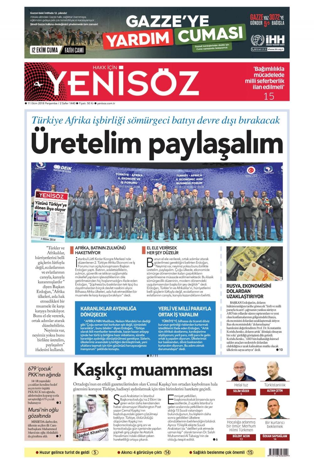 Günün gazete manşetleri (11.10.2018) 1