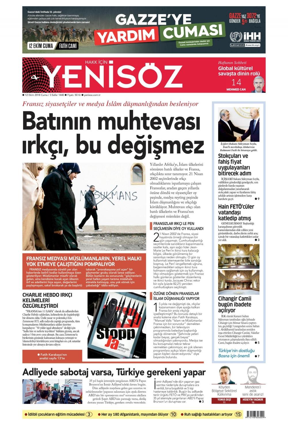 Günün gazete manşetleri (12.10.2018) 1