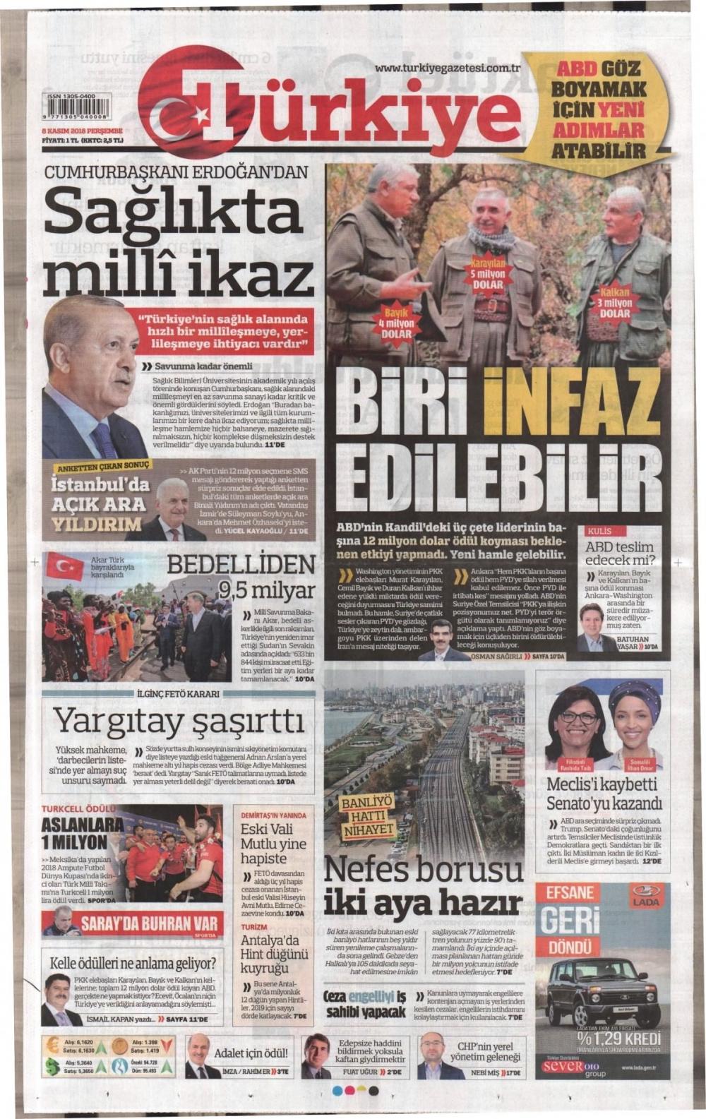 Günün gazete manşetleri (08.11.2018) 1