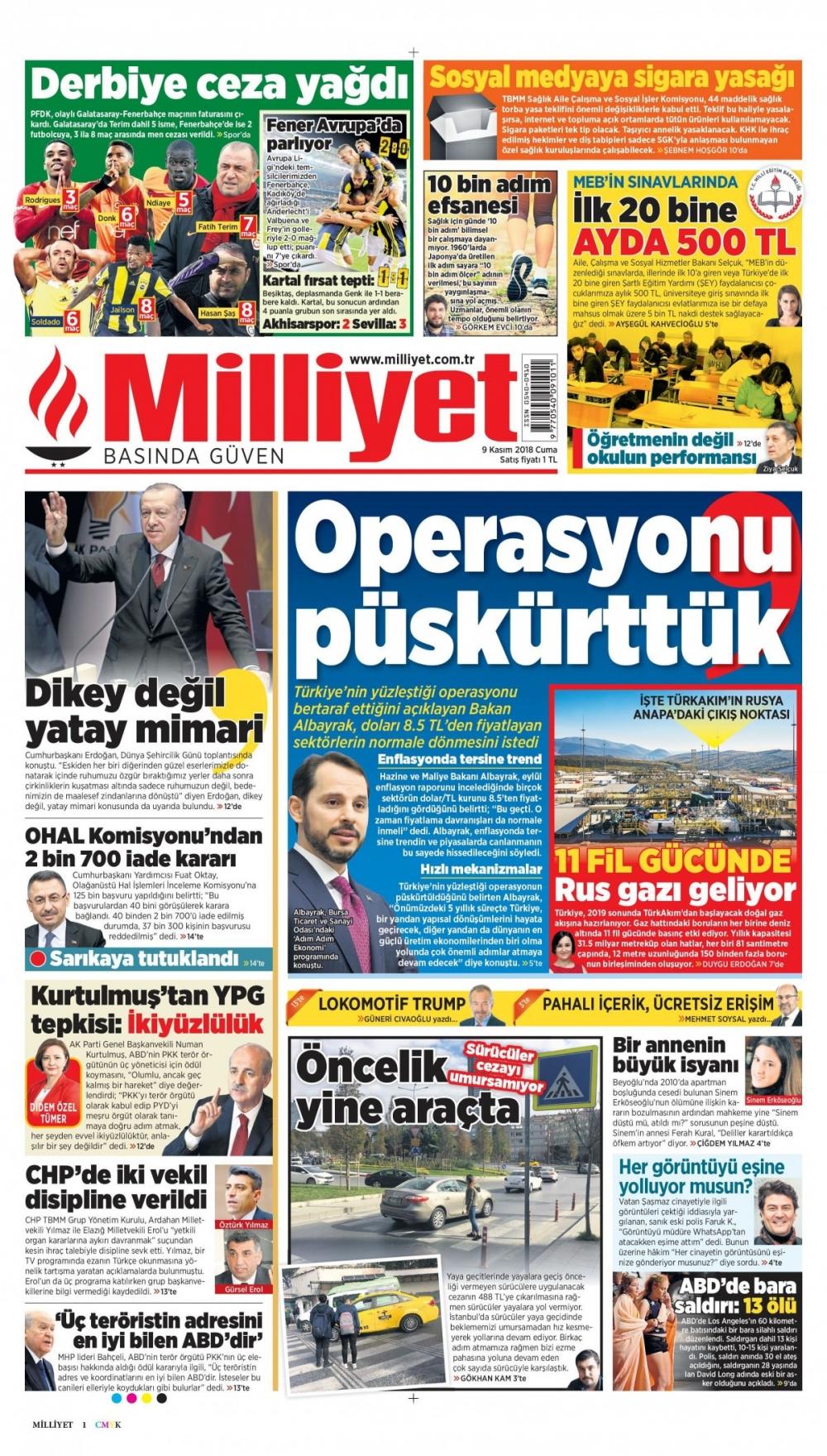 Günün gazete manşetleri (09.11.2018) 1