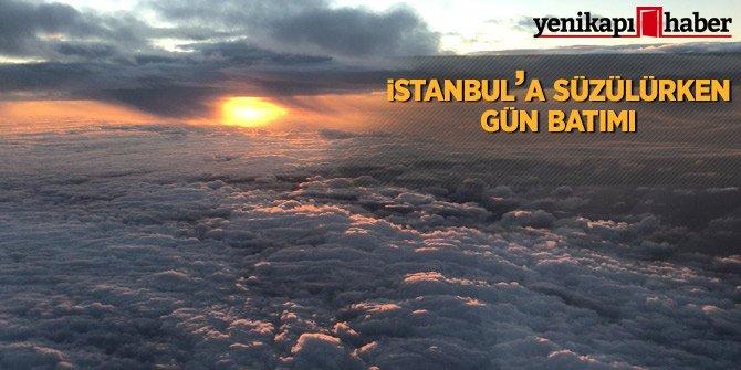 İstanbul'a süzülürken gün batımı