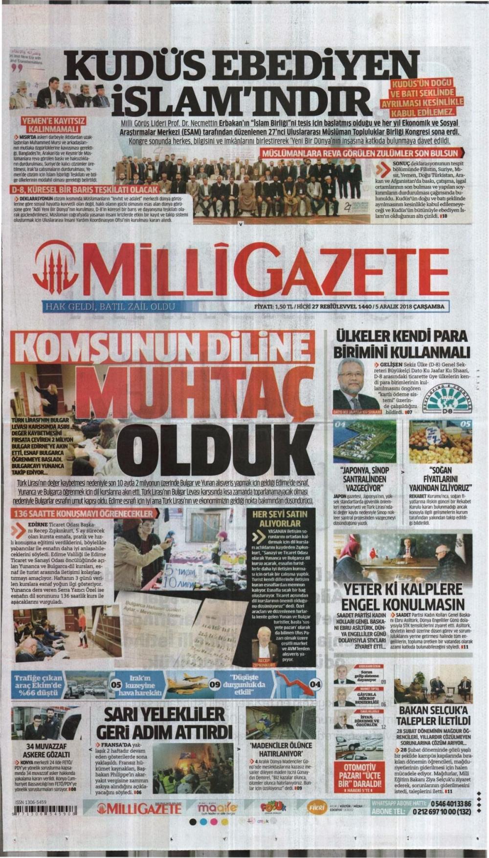 Günün gazete manşetleri (05.12.2018) 1