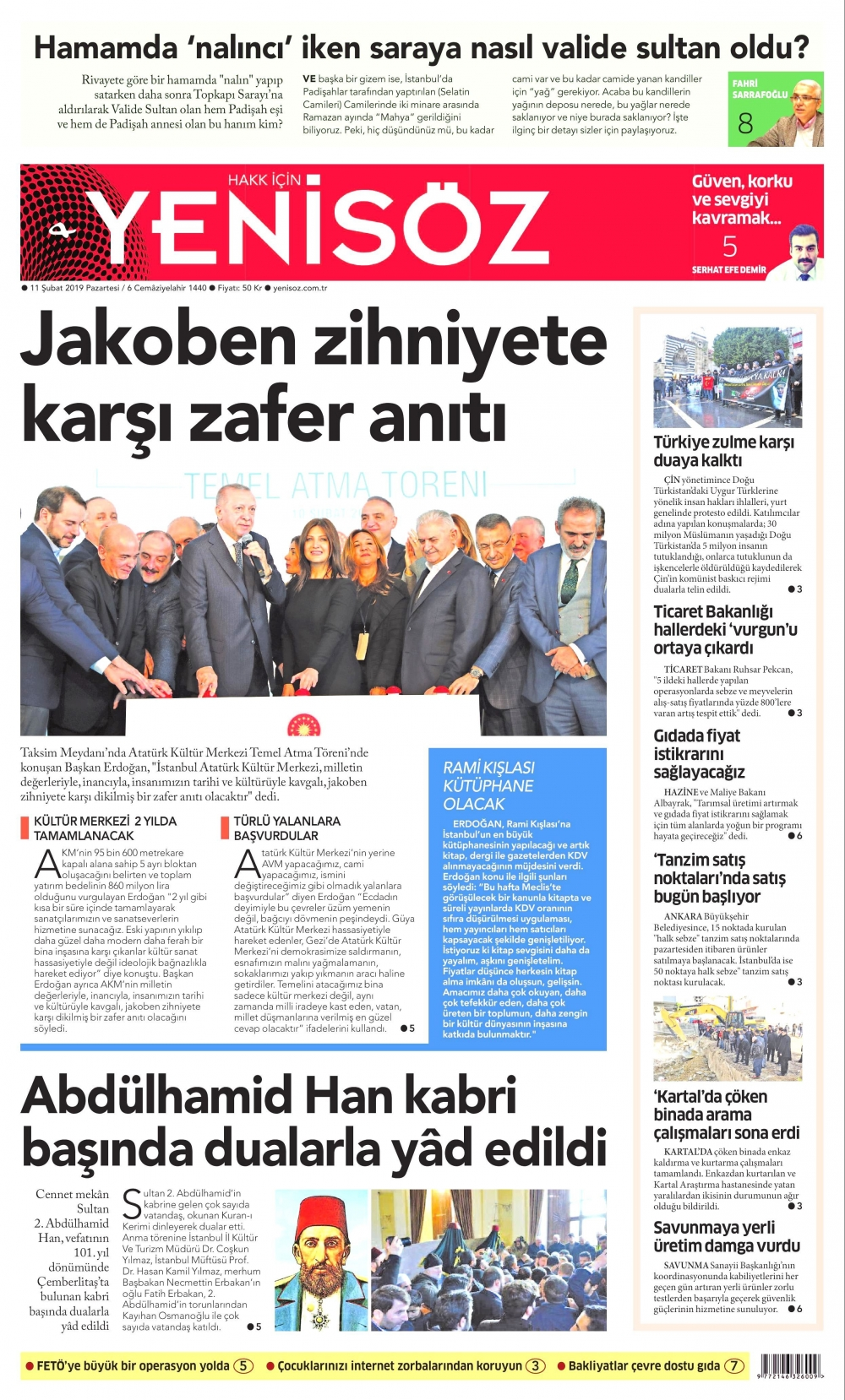 Günün gazete manşetleri (11.02.2019) 1