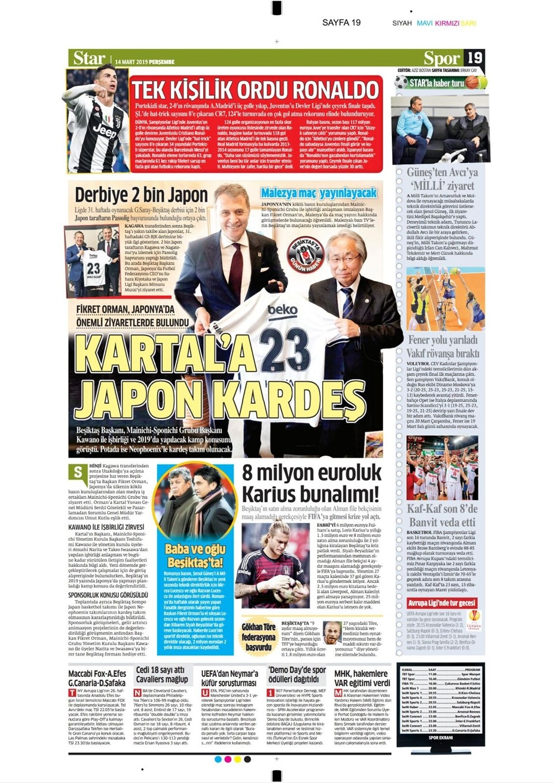 Günün spor manşetleri (14 Mart 2019) 1