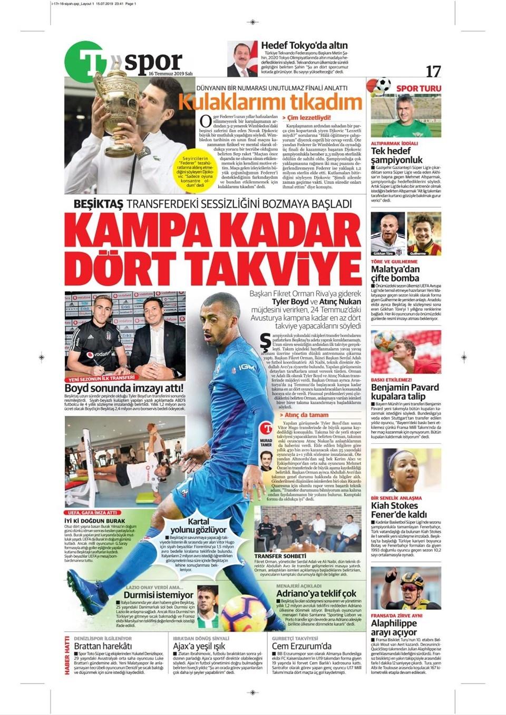 Günün spor manşetleri (16 Temmuz 2019) 1