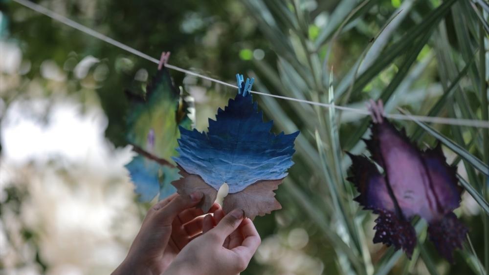 Filistinli genç kız asma yapraklrından sanat harikaları yaratıyor 9