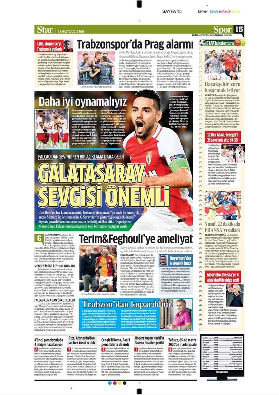 Günün spor manşetleri (13 Ağustos 2019) 1