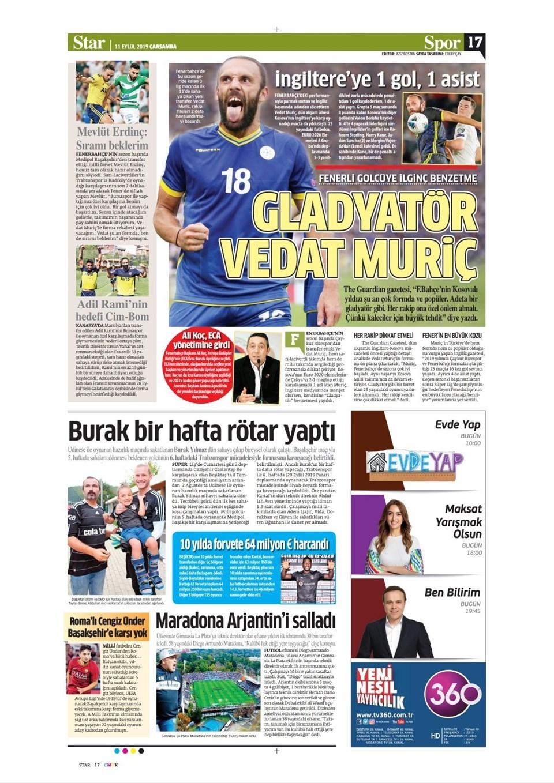 Günün spor manşetleri (11 Eylül 2019) 1