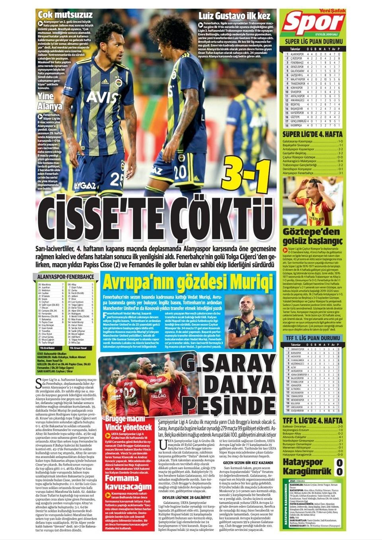 Günün spor manşetleri (17 Eylül 2019) 1