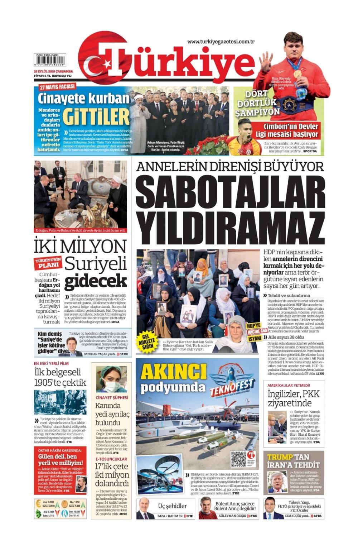 Gazeteler bugün ne yazdı? (18 Eylül 2019) 1