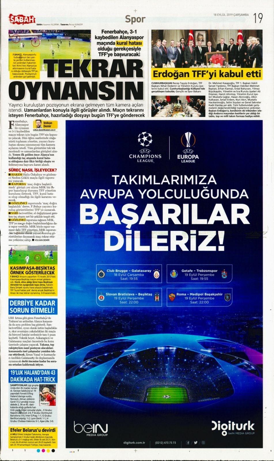 Günün spor manşetleri (18 Eylül 2019) 1