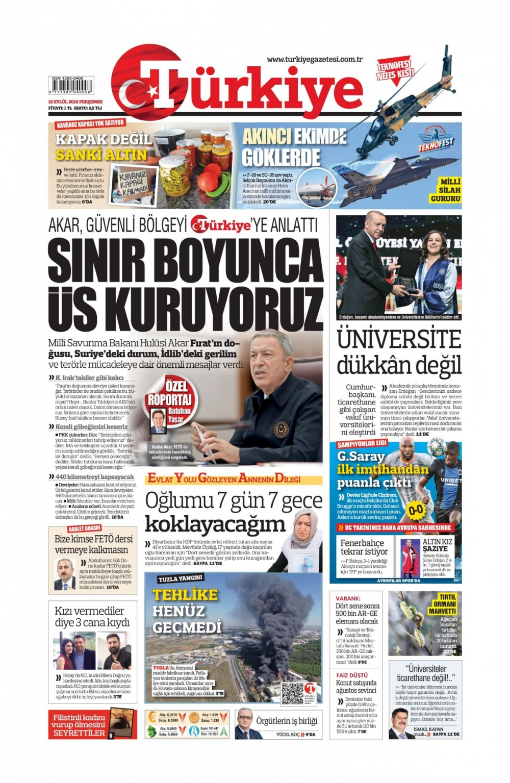 Gazeteler bugün ne yazdı? (19 Eylül 2019) 1