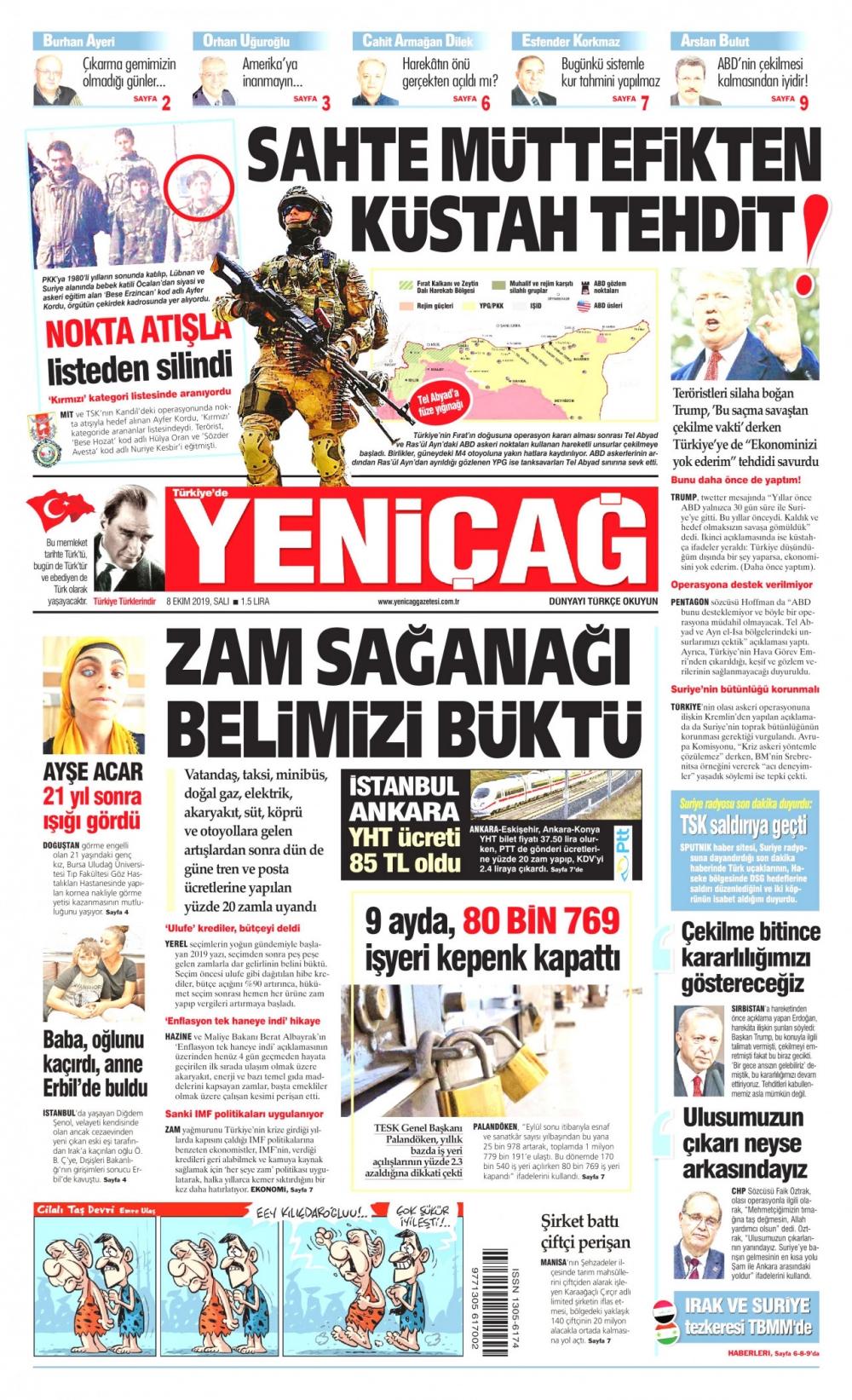 Gazeteler bugün ne yazdı? (08 Ekim 2019) 1