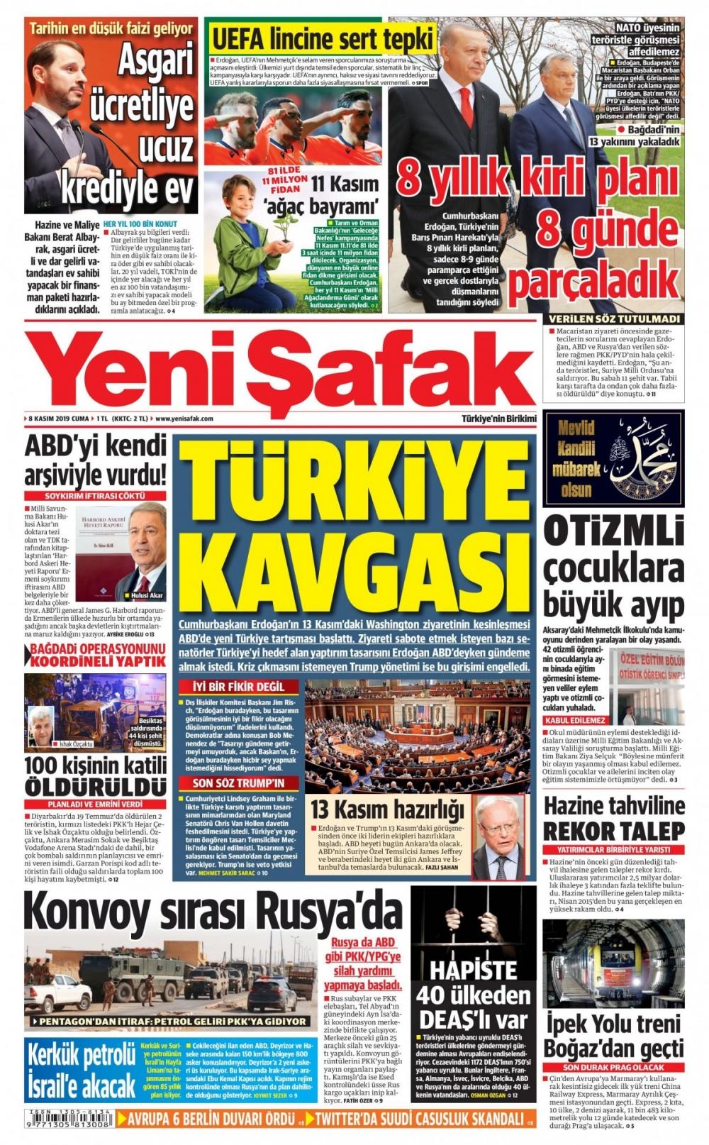 Gazeteler bugün ne yazdı? (8 Kasım 2019) 1